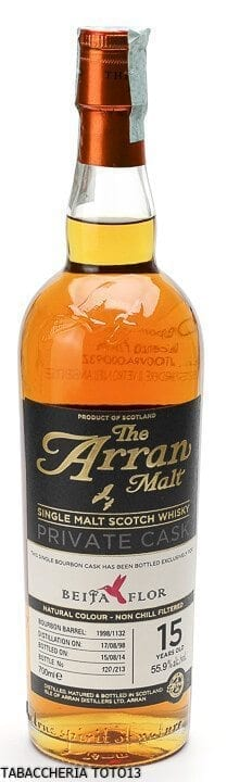 WHISKY THE ARRAN BOURBON BARREL PRIVATE CASK BEIJA FLOR 15 Years Old